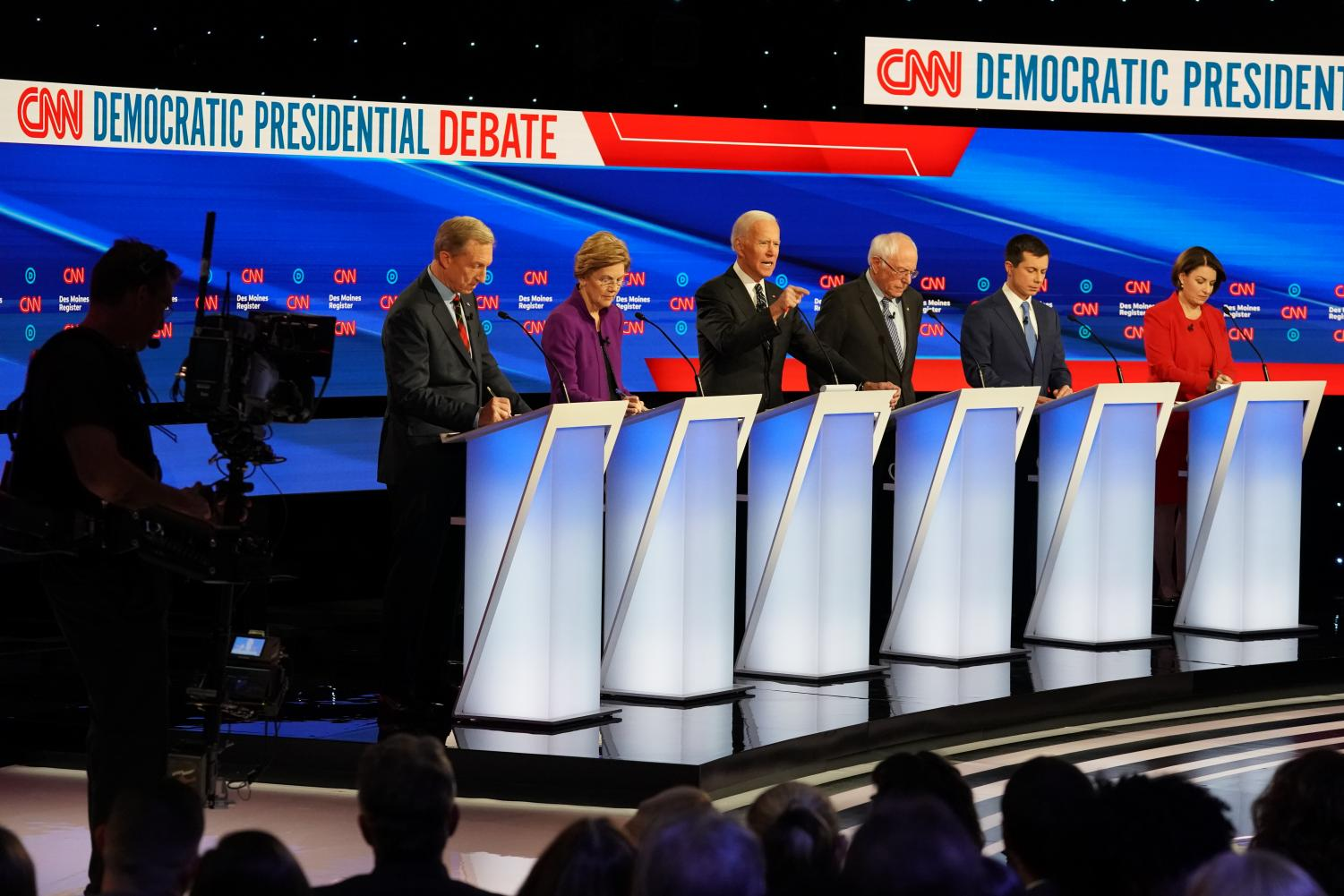 Six candidates made their final pitches to Iowans while together on a single stage Jan. 14, 2020 at the January Democratic debates hosted by CNN and the Des Moines Register. Photo available to The Daily Iowan from CNN.