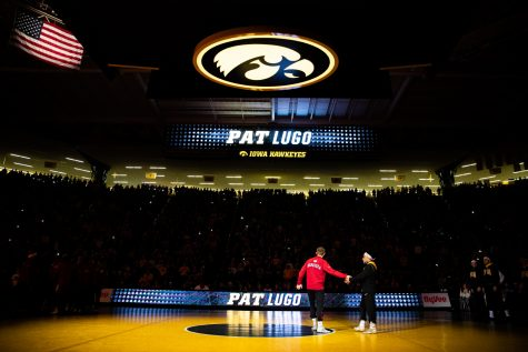 Iowa's Pat Lugo is introduced during a wrestling dual meet between Iowa and Nebraska at Carver-Hawkeye Arena on Saturday, Jan. 18, 2020. The Hawkeyes defeated the Huskers, 26-6.