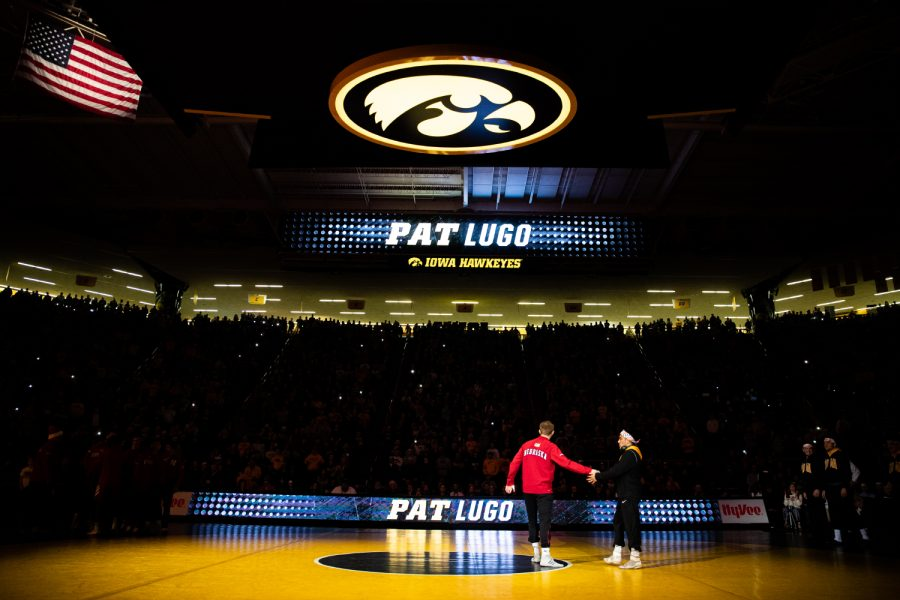 Iowa%27s+Pat+Lugo+is+introduced+during+a+wrestling+dual+meet+between+Iowa+and+Nebraska+at+Carver-Hawkeye+Arena+on+Saturday%2C+Jan.+18%2C+2020.+The+Hawkeyes+defeated+the+Huskers%2C+26-6.+