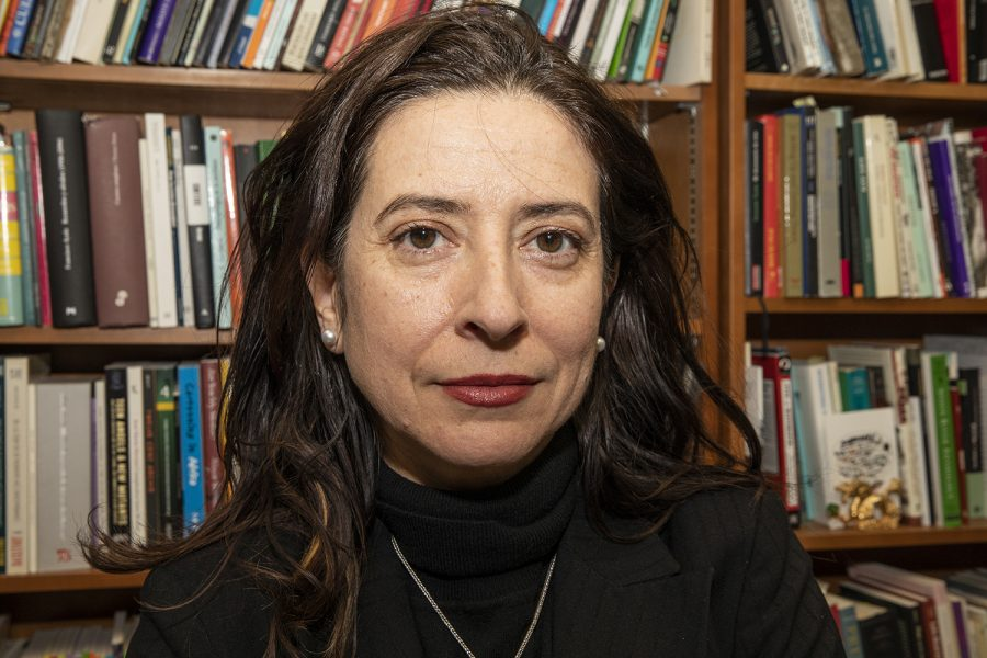 Professor+of+Spanish+and+Portuguese+Ana+Merino+poses+for+a+portrait+in+her+Phillips+Hall+office+on+Tuesday.+Merino+recently+won+the+Premio+Nadal+for+her+book%2C+El+mapa+de+los+afectos.
