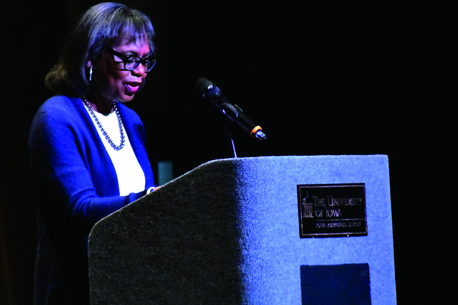 Professor Anita Hill gives a speech on sexual harassment on Thursday, January 23, 2020.
