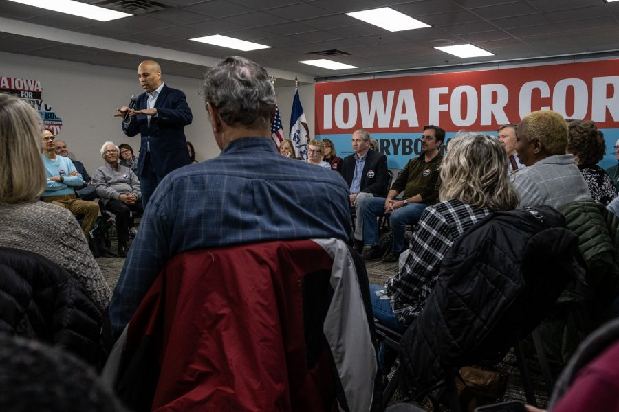 Senator Cory Booker speaks to the audience during a campaign event at the North Liberty Community Center on Thursday, January 9 2020. Senator Booker spoke about his plans for the country if he wins the presidency.