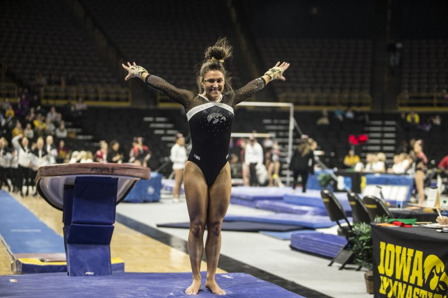 Iowa+gymnast+Bridget+Killian+sticks+her+landing+in+a+meet+against+Rutgers+on+Saturday%2C+January+26%2C+2019.+The+Hawkeyes+defeated+the+Scarlet+Knights+194.575+to+191.675.+