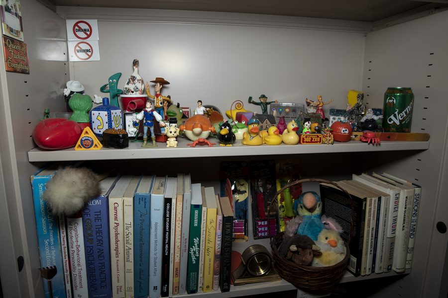 Pieces of University of Iowa Counseling Services Director Barry Schreier's office collection are seen on December 12, 2019. Schreier recently was awarded the Association of University and College Counseling Center's President's Award for Meritorious Service in the National Field of Campus Mental Health.