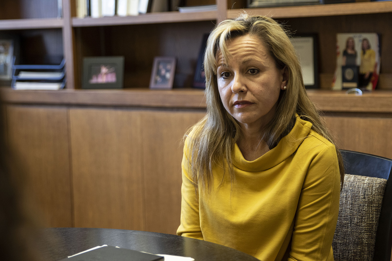 Provost Montse Fuentes speaks in an interview with The Daily Iowan in Jessup Hall on Tuesday, Jan. 21, 2020. Fuentes sat down to discuss new plans to improve support for first-generation students.