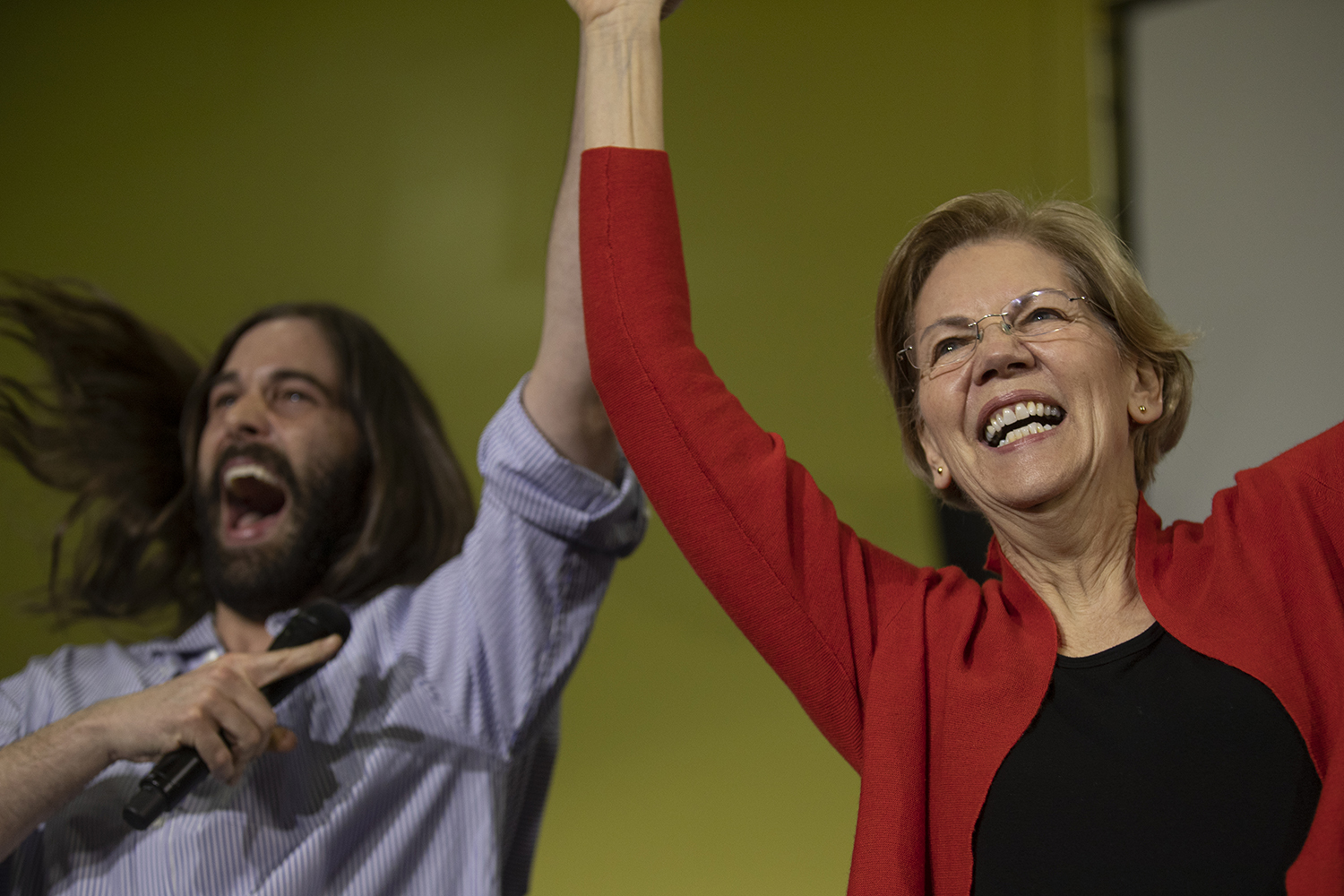 Hairstylist and reality TV Star Jonathan Van Ness introduces Sen. Elizabeth Warren, D-Mass., at NewBo Market in Cedar Rapids on Sunday, Jan. 26. Van Ness endorsed Warren and spoke about her platform issues such as health care and discrimination.