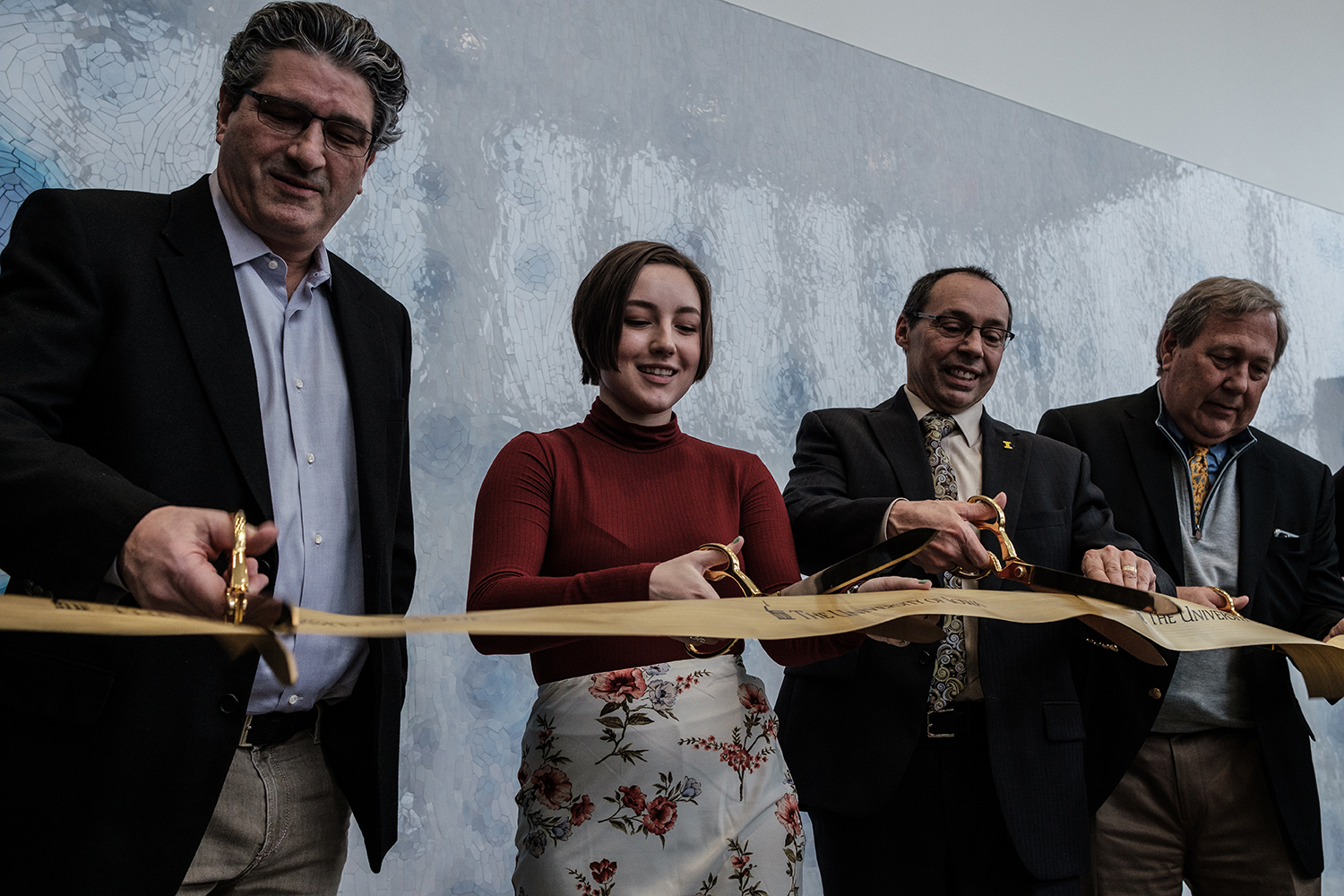Speakers from the event cut a ceremonial ribbon during the opening reception for the Psychological and Brain Sciences Building on Jan. 24. The building has been under construction for two and a half years but was ready for use by faculty and students for the spring semester of 2020.