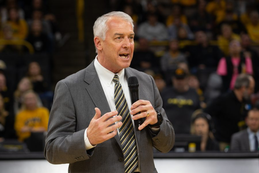 University+of+Iowa+athletic+director+Gary+Barta+discusses+former+Iowa+basketball+player+Megan+Gustafson%27s+career+during+the+retirement+ceremony+for+her+number+10+jersey+following+the+Iowa+women%27s+basketball+game+against+Michigan+State+University+on+Sunday%2C+Jan.+26%2C+2020+at+Caver-Hawkeye+Arena.+The+Hawkeyes+defeated+the+Spartans%2C+74-57.+