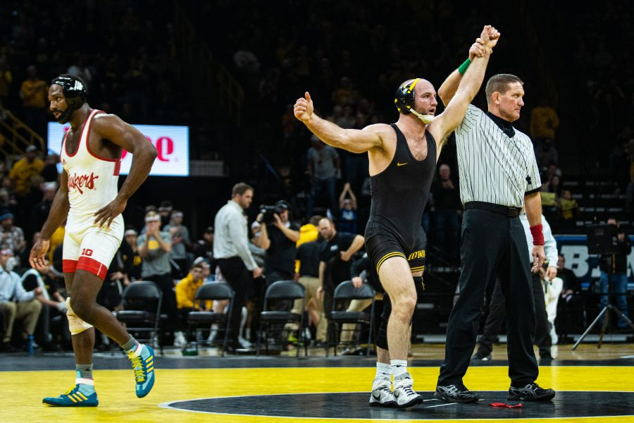 Iowa%27s+165-pound+Alex+Marinelli+defeats+Nebraska%27s+Isaiah+White+during+a+wrestling+dual+meet+between+Iowa+and+Nebraska+at+Carver-Hawkeye+Arena+on+Jan.+18.+Marinelli+won+by+decision%2C+4-3%2C+and+the+Hawkeyes+defeated+the+Huskers%2C+26-6.+