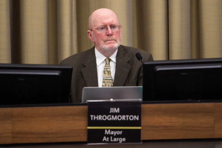Iowa+City+Mayor+Jim+Throgmorton+listens+to+public+hearings+during+a+City+Council+meeting+at+City+Hall+on+Monday%2C+November+4%2C+2019.+
