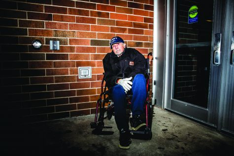 Normal Lettington, a U.S. Army veteran sits in a wheelchair outside of the VIP entrance outside of a rally for President Donald Trump at the Knapp Center on Thursday, January 30, 2020. Lettington is diagnosed with Alzheimer's and has a few months left of life. Currently being treated in the veteran's unit in the hospital, he cannot make most trips out to the public. Lettington made traveled to the event in hope of seeing President Trump in person.
