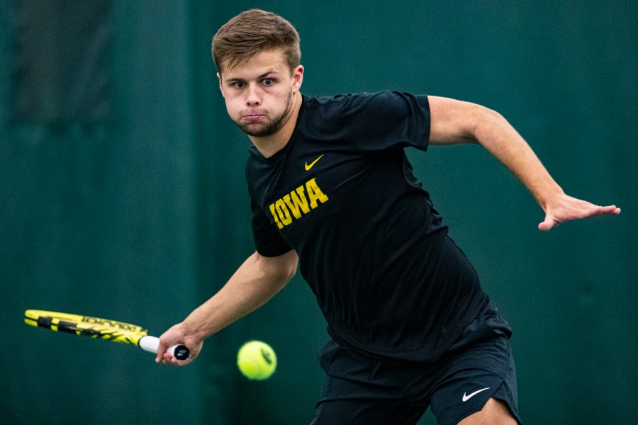 Iowa%27s+Will+Davies+hits+a+forehand+during+a+men%27s+tennis+match+between+Iowa+and+Texas+Tech+at+the+HTRC+on+Thursday%2C+Jan.+16%2C+2020.+The+Red+Raiders+defeated+the+Hawkeyes%2C+4-3.