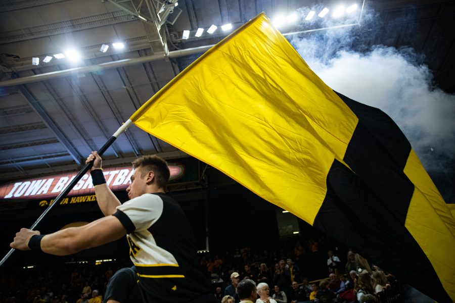 The+%22I%22+flag+is+flown+during+a+women%27s+basketball+match+between+Iowa+and+Indiana+at+Carver-Hawkeye+Arena+on+Sunday%2C+Jan.+12%2C+2020.+The+Hawkeyes+defeated+the+Hoosiers%2C+91-85%2C+in+double+overtime.+