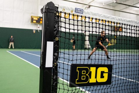 Iowa's Joe Tyler prepares to serve during a men's tennis match between Iowa and Creighton at the HTRC on Saturday, Jan. 18, 2020. The Hawkeyes defeated the Blue Jays, 5-2.