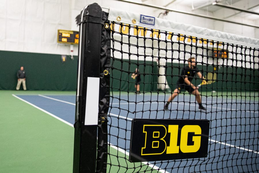 Iowa%27s+Joe+Tyler+prepares+to+serve+during+a+men%27s+tennis+match+between+Iowa+and+Creighton+at+the+HTRC+on+Saturday%2C+Jan.+18%2C+2020.+The+Hawkeyes+defeated+the+Blue+Jays%2C+5-2.