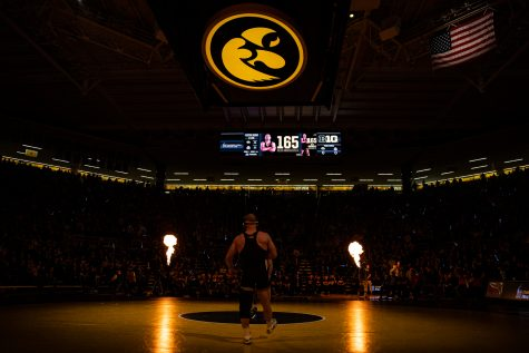 Iowa's Alex Marinelli prepares to wrestle during a wrestling dual meet between No. 1 Iowa and No. 4 Ohio State at Carver-Hawkeye Arena on Friday, Jan. 24, 2020. The Hawkeyes defeated the Buckeyes, 24-10.