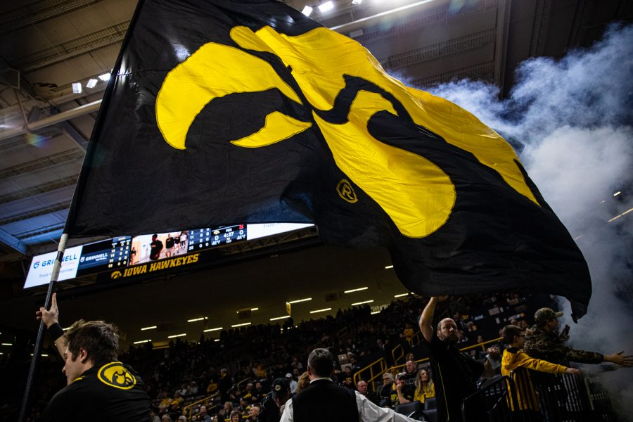 A+tigerhawk+flag+is+waved+during+a+men%27s+basketball+game+between+Iowa+and+Maryland+at+Carver-Hawkeye+Arena+on+Friday%2C+Jan.+10%2C+2020.