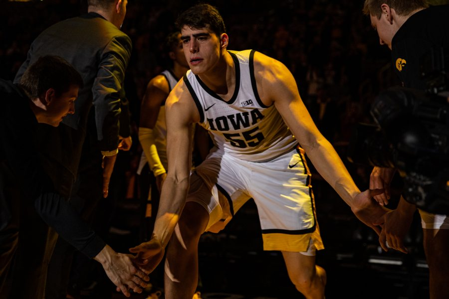 Iowa+forward+Luka+Garza+is+introduced+during+a+men%27s+basketball+game+between+Iowa+and+Maryland+at+Carver-Hawkeye+Arena+on+Friday%2C+Jan.+10%2C+2020.