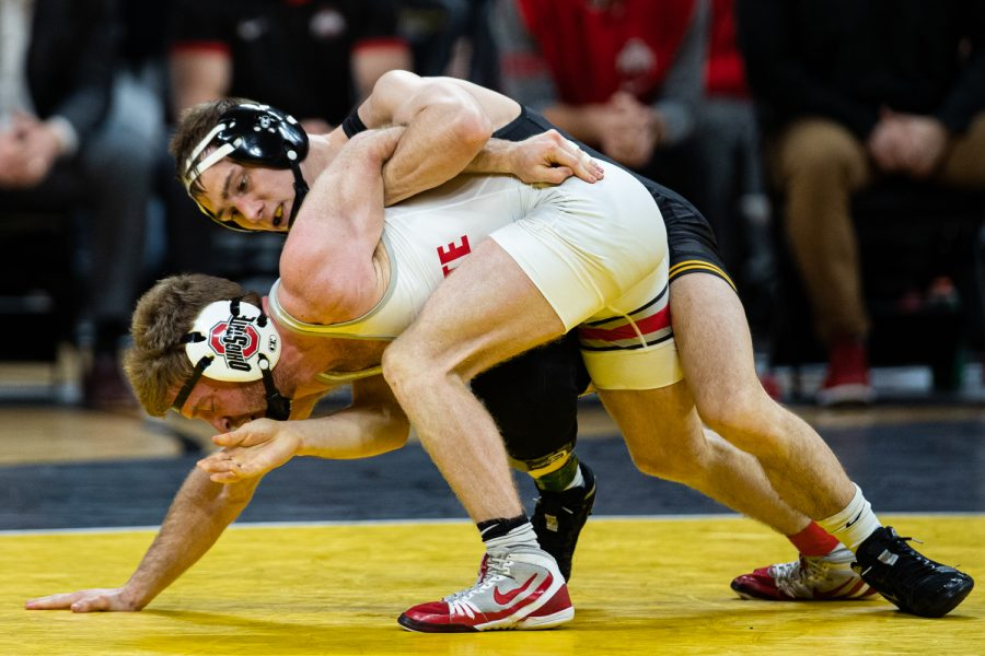 Iowa%E2%80%99s+125-pound+Spencer+Lee+wrestles+Ohio+State%E2%80%99s+Hunter+Lucas+during+a+wrestling+dual+meet+between+No.+1+Iowa+and+No.+4+Ohio+State+at+Carver-Hawkeye+Arena+on+Friday%2C+Jan.+24%2C+2020.+No.+1+Lee+defeated+Lucas+by+technical+fall+in+2%3A32%2C+and+the+Hawkeyes+defeated+the+Buckeyes%2C+24-10.