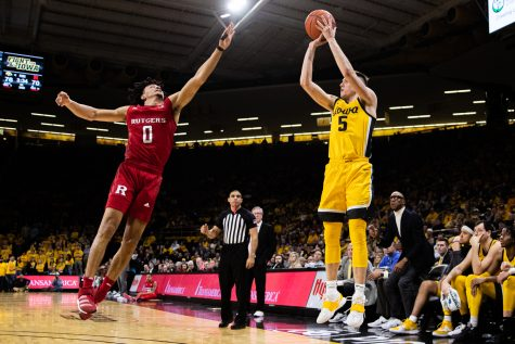 Iowa guard CJ Fredrick takes a shot during a men's basketball game between Iowa and Rutgers at Carver-Hawkeye Arena on Wednesday, Jan. 22, 2020. The Hawkeyes defeated the Scarlet Knights, 85-80.