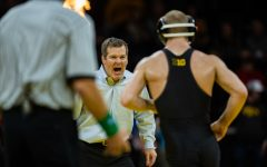 Iowa head coach Tom Brands yells during a wrestling dual meet between Iowa and Nebraska at Carver-Hawkeye Arena on Saturday, Jan. 18, 2020. The Hawkeyes defeated the Huskers, 26-6.
