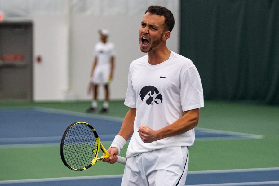 Iowa%27s+Kareem+Allaf+celebrates+a+point+during+a+men%27s+tennis+match+between+Iowa+and+Western+Michigan+at+the+HTRC+on+Saturday%2C+Jan.+18%2C+2020.+The+Hawkeyes+defeated+the+Broncos%2C+4-3.