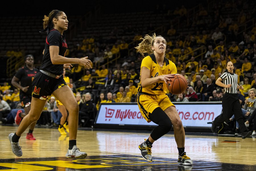 Iowa+guard+Kathleen+Doyle+drives+to+the+rim+during+a+women%C3%95s+basketball+game+between+Iowa+and+Maryland+at+Carver-Hawkeye+Arena+on+Thursday%2C+Jan.+9%2C+2020.+%28Shivansh+Ahuja%2FThe+Daily+Iowan%29