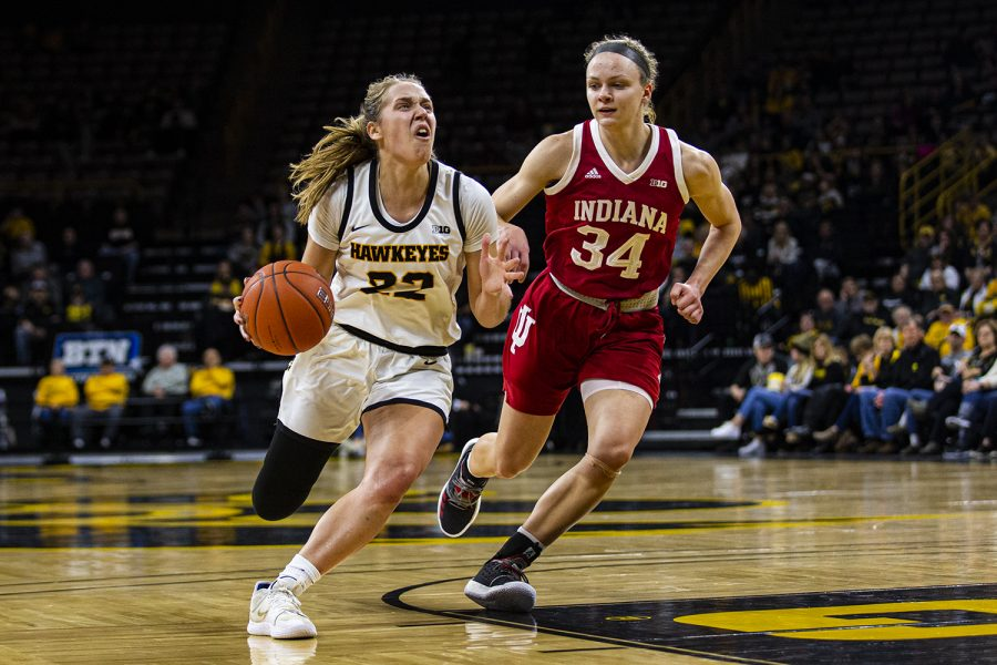 Iowa+guard+Kathleen+Doyle+drives+to+the+rim+during+a+women%C3%95s+basketball+game+between+Iowa+and+Indiana+at+Carver-Hawkeye+Arena+on+Sunday%2C+Jan.+12%2C+2020.+%28Shivansh+Ahuja%2FThe+Daily+Iowan%29