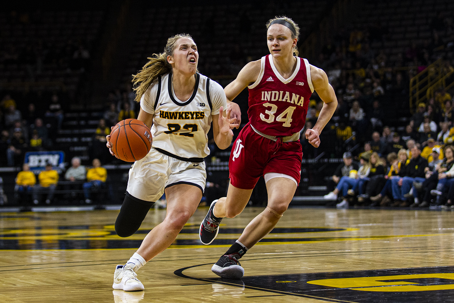 Iowa guard Kathleen Doyle drives to the rim during a womenÕs basketball game between Iowa and Indiana at Carver-Hawkeye Arena on Sunday, Jan. 12, 2020. (Shivansh Ahuja/The Daily Iowan)