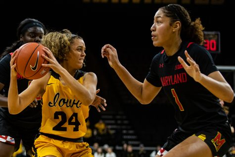 Iowa guard Gabbie Marshall looks to pass during a women's basketball game between Iowa and Maryland at Carver-Hawkeye Arena on Thursday, Jan. 9, 2020. The Hawkeyes defeated the Terrapins, 66-61.