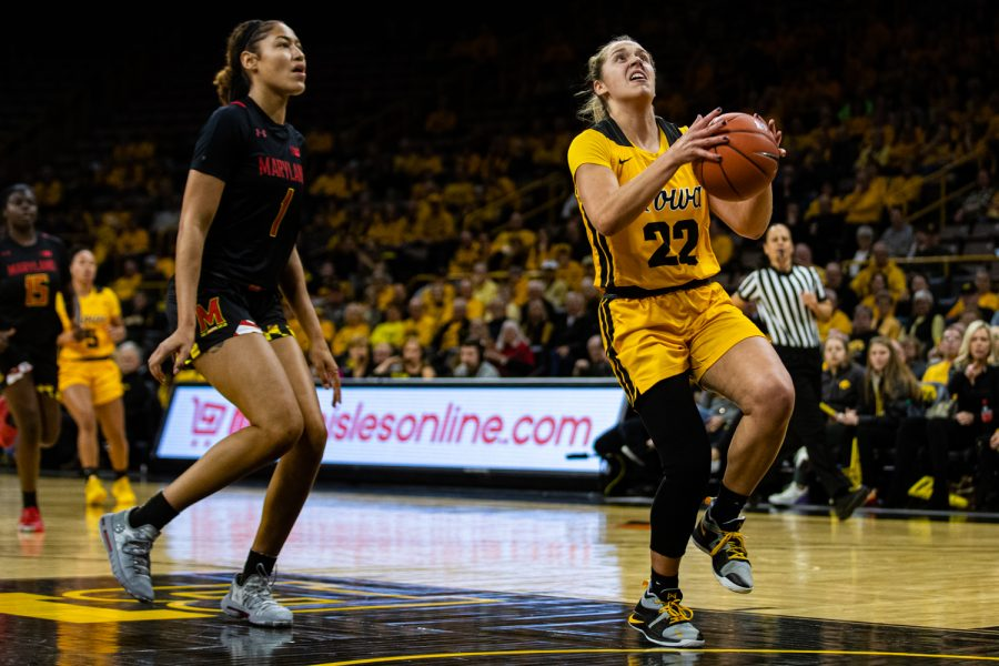 Iowa+guard+Kathleen+Doyle+drives+to+the+net+during+a+women%E2%80%99s+basketball+game+between+Iowa+and+Maryland+at+Carver-Hawkeye+Arena+on+Thursday%2C+Jan.+9%2C+2020.+The+Hawkeyes+defeated+the+Terrapins%2C+66-61.