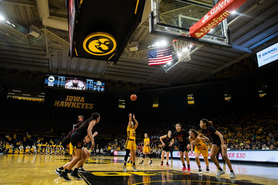 Iowa guard Kathleen Doyle attempts a free throw during a women's basketball game between Iowa and Maryland at Carver-Hawkeye Arena on Thursday, Jan. 9, 2020. The Hawkeyes defeated the Terrapins, 66-61.