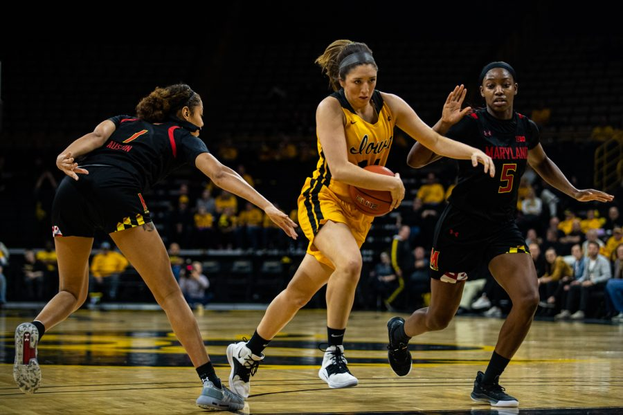 Iowa guard McKenna Warnock drives to the rim during a women's basketball game between Iowa and Maryland at Carver-Hawkeye Arena on Thursday, Jan. 9, 2020. The Hawkeyes defeated the Terrapins, 66-61.