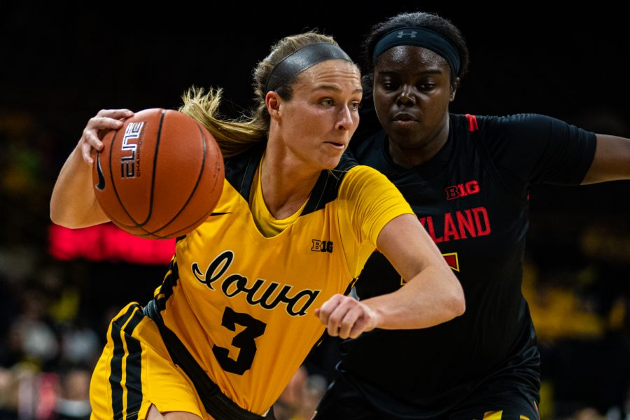 Iowa guard Makenzie Meyer drives forward during a women's basketball game between Iowa and Maryland at Carver-Hawkeye Arena on Thursday, Jan. 9, 2020. The Hawkeyes defeated the Terrapins, 66-61.