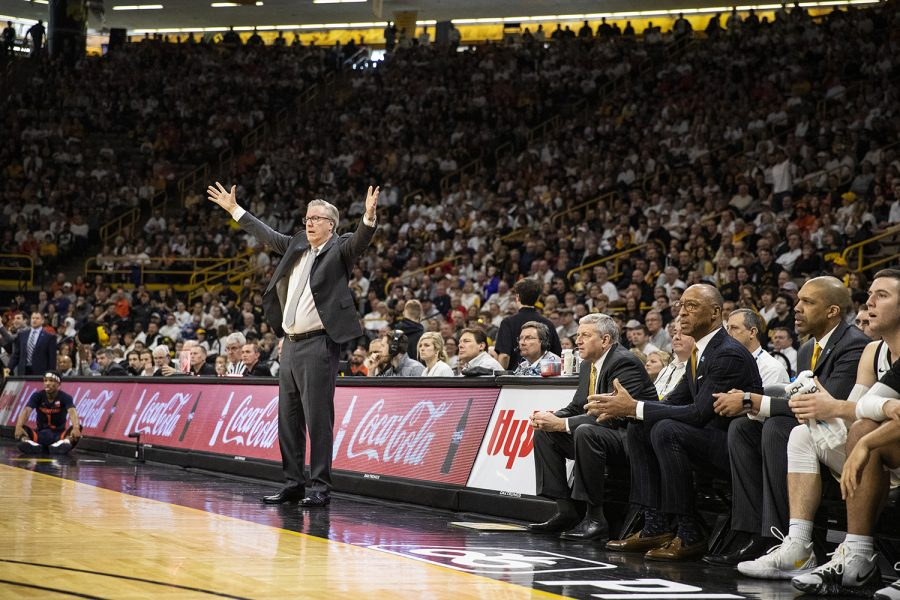 Iowa+head+coach+Fran+McCaffery+reacts+to+a+call+made+during+a+men%E2%80%99s+basketball+game+between+the+Iowa+Hawkeyes+and+the+Illinois+Fighting+Illini+on+Sunday%2C+February+2%2C+2020.+The+Hawkeyes+defeated+the+Fighting+Illini+72-65.+