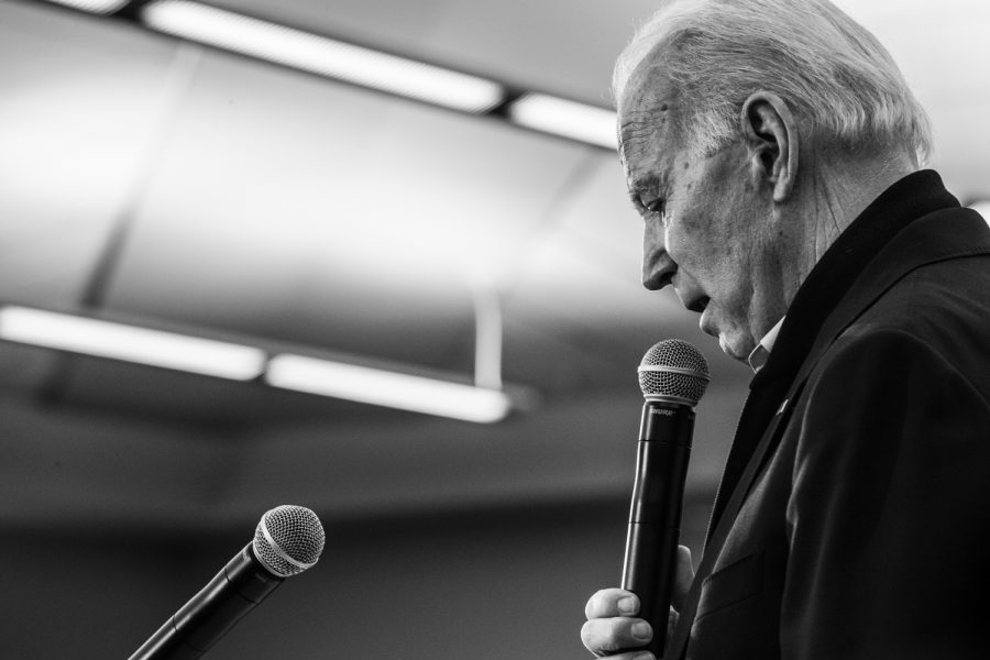 Former Vice President Joe Biden speaks during a campaign event in North Liberty on Saturday, February 1, 2020. With the Iowa Caucuses happening in two days, former Vice President Biden stopped to give a last minute pitch to Iowa voters.