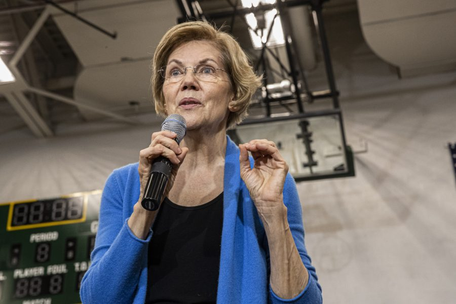 Sen.+Elizabeth+Warren+speaks+at+a+campaign+event+at+West+High+School+in+Iowa+City+on+Saturday%2C+February+1%2C+2020.+With+the+Iowa+Caucuses+happening+in+two+days%2C+Warren+stopped+to+give+a+last+minute+pitch+to+Iowa+voters.