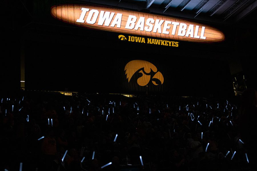 The+crowd+wave+their+glow+sticks+during+a+women%27s+basketball+game+between+Iowa+and+Nebraska+at+Carver+Hawkeye+Arena+on+Monday+Feb.+6%2C+2020.+The+Hawkeyes+defeated+the+Cornhuskers+76-60.+