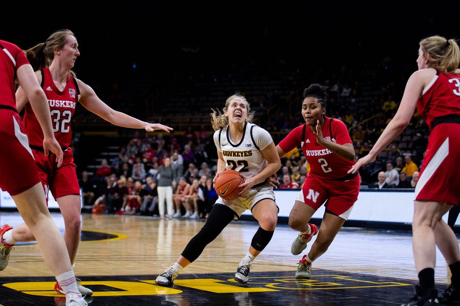 Iowa guard Kathleen Doyle drives to the basket during a women's basketball game between Iowa and Nebraska at Carver Hawkeye Arena on Monday Feb. 6, 2020. The Hawkeyes defeated the Cornhuskers 76-60.
