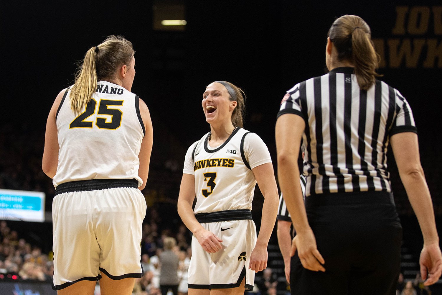 Iowa guard Makenzie Meyer reacts to a foul drawn by Monika Czinano during a women's basketball game between Iowa and Nebraska at Carver Hawkeye Arena on Monday Feb. 6, 2020.