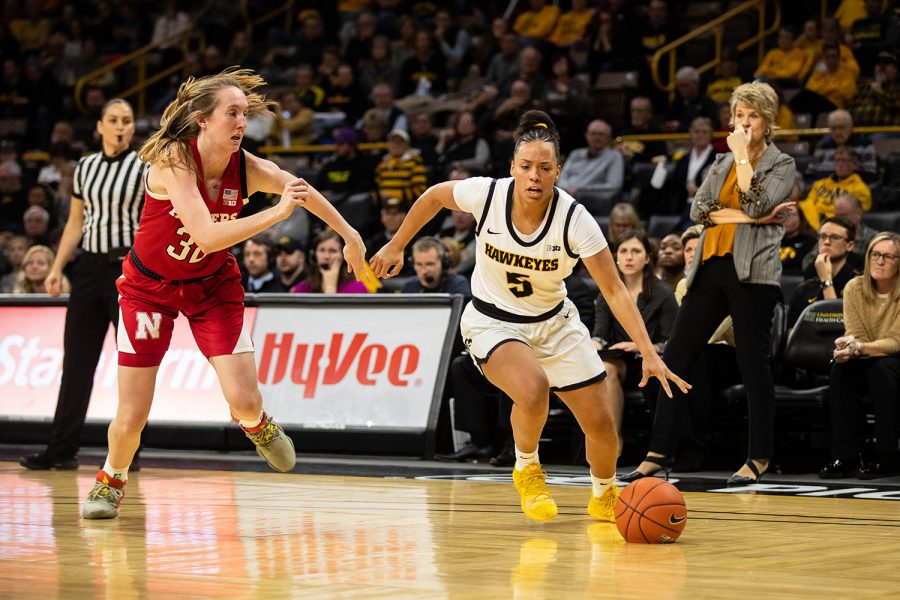 Iowa guard Alexis Sevillian drives to the basket during a women's basketball game between Iowa and Nebraska at Carver Hawkeye Arena on Monday Feb. 6, 2020. The Hawkeyes defeated the Cornhuskers 76-60.