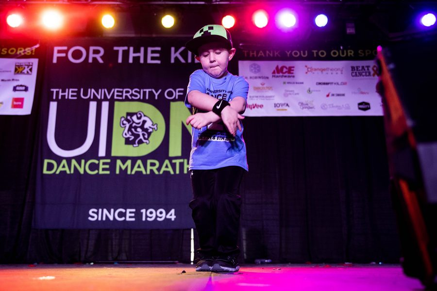 Max performs during the Dance Marathon Kiddo Talent Show  at the IMU on Saturday, Feb. 6, 2020. (Megan Nagorzanski/The Daily Iowan)