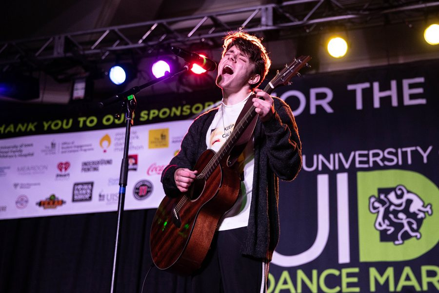 Sumner performs during the Dance Marathon Kiddo Talent Show  at the IMU on Saturday, Feb. 6, 2020. (Megan Nagorzanski/The Daily Iowan)