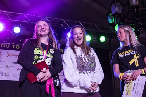 (From left) Haley Talbot, Emily Yeast, and Audi Zapf receives awards for raising the most money of organizers and students during Dance Marathon 26 in the IMU on Saturday, Feb. 8, 2020.