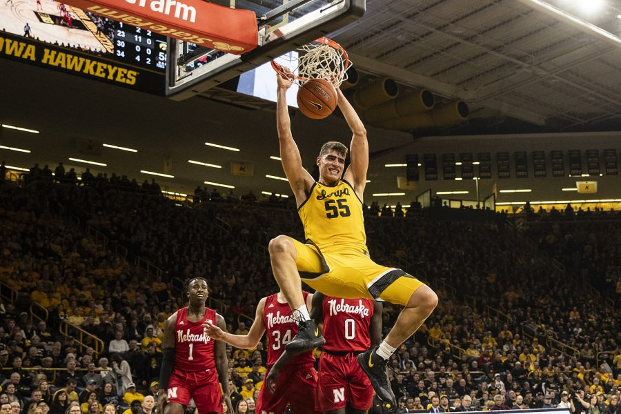 Iowa+center+Luka+Garza+dunks+the+ball+during+a+men%E2%80%99s+basketball+game+between+the+Iowa+Hawkeyes+and+the+Nebraska+Huskers+at+Carver-Hawkeye+arena+on+Saturday%2C+February+8%2C+2020.+The+Hawkeyes+defeated+the+Huskers+96-72.+