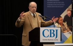 Sen. Chuck Grassley (R-Iowa) speaks about lowering prescription drug prices during the Corridor Business Journal Health Care Summit at the Coralville Marriott Hotel and Conference Center on Feb. 14.