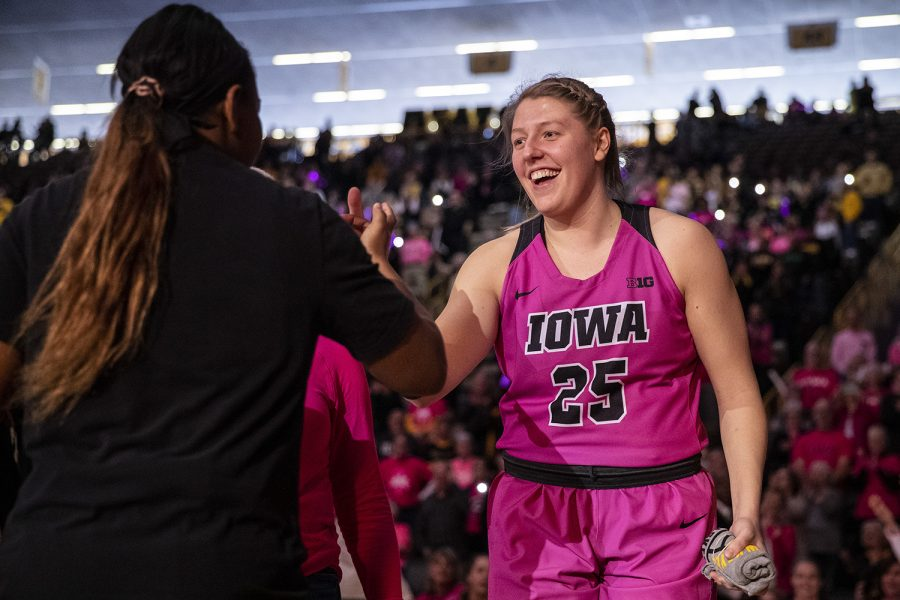Iowa+forward+Monika+Czinano+is+introduced+during+the+starting+lineup+ahead+of+a+women%E2%80%99s+basketball+between+Iowa+and+Wisconsin+at+Carver-Hawkeye+Arena+on+Sunday%2C+Feb.+16%2C+2020.+The+Hawkeyes+defeated+the+Badgers+97-71.+