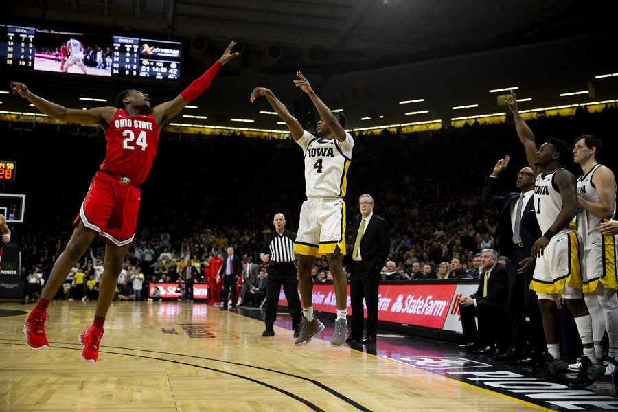 Iowa guard Bakari Evelyn shoots the ball during the mens basketball game against Ohio State at Carver-Hawkeye Arena on Thursday, February 20, 2020. The Hawkeyes defeated the Buckeyes 85-76.