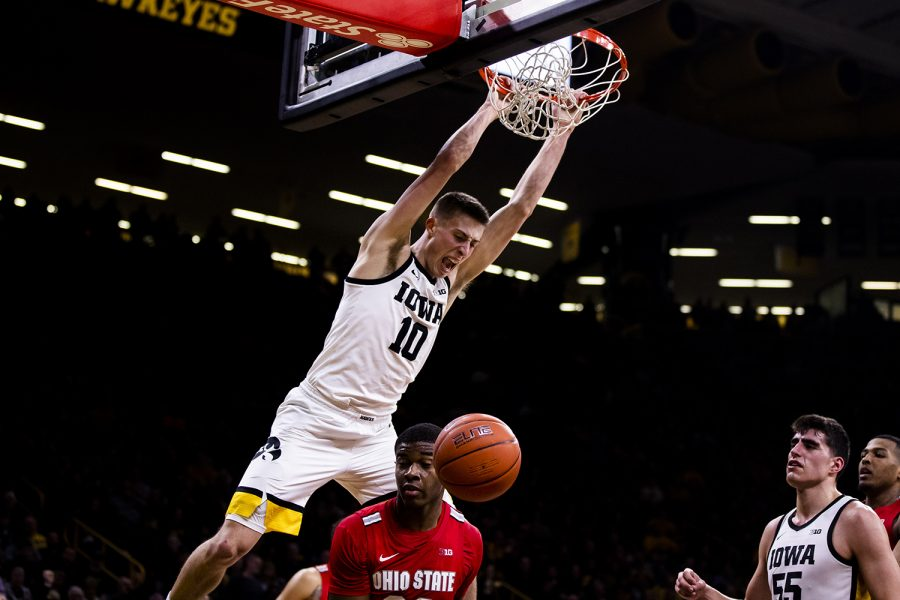 Iowa guard Joe Wieskamp dunks the ball during the men's basketball game against Ohio State at Carver-Hawkeye Arena on Thursday, February 20, 2020. The Hawkeyes defeated the Buckeyes 85-76.