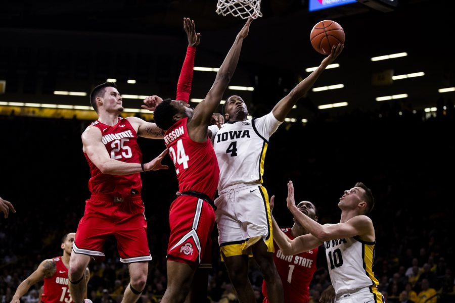 Iowa guard Bakari Evelyn shoots the ball during the men's basketball game against Ohio State at Carver-Hawkeye Arena on Thursday, February 20, 2020. The Hawkeyes defeated the Buckeyes 85-76.